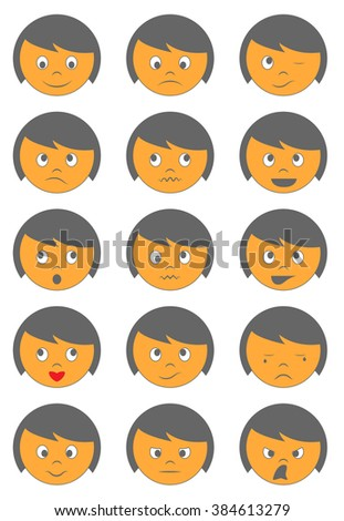 Raster cute face emoticons on white background - stock photo