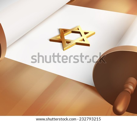 Raster David Star On Blank Torah - stock photo