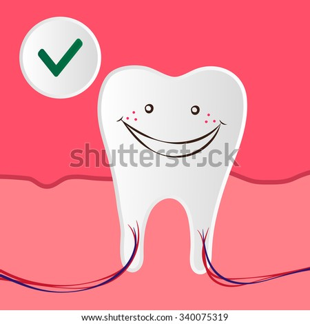 Raster Dental Care Illustration with the Healthy and Happy Teeth
