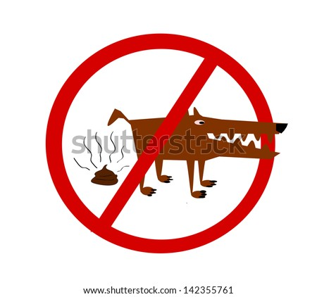 raster dog poop prohibited sign - stock photo