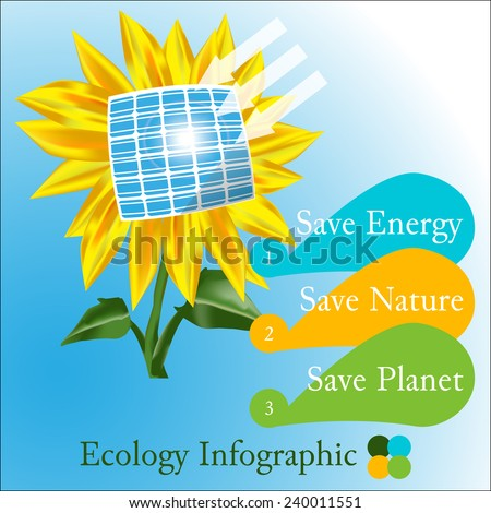 Raster ecology  infographic  with sunflower, solar battery and text: save energy, save nature,save planet - stock photo