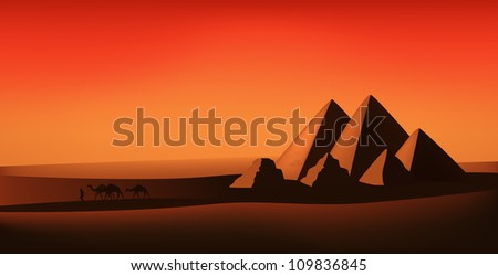 raster - egyptian landscape - desert, pyramids and camels at the sunset (vector version is available in my portfolio) - stock photo