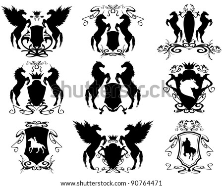 raster - equestrian set of heraldic shields (vector version is available in my portfolio) - stock photo