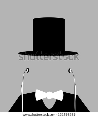 raster faceless man with top hat and earphones