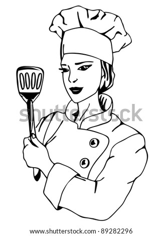 raster - female chef illustration (vector version is available in my portfolio)