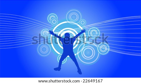 raster file of a jumping boy on abstract background - stock photo