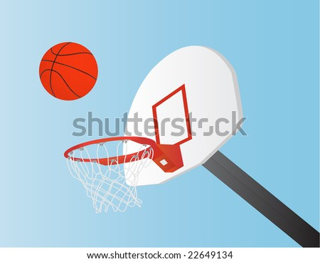raster file of basket ball, net and backboard - stock photo