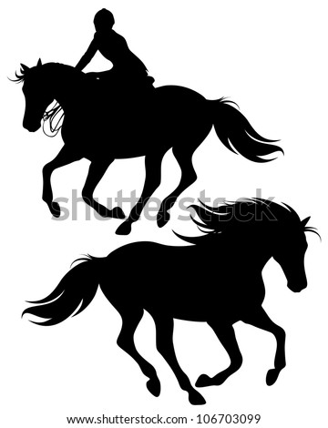 raster - fine silhouettes of horseman riding a horse and wild stallion (vector version is available in my portfolio) - stock photo