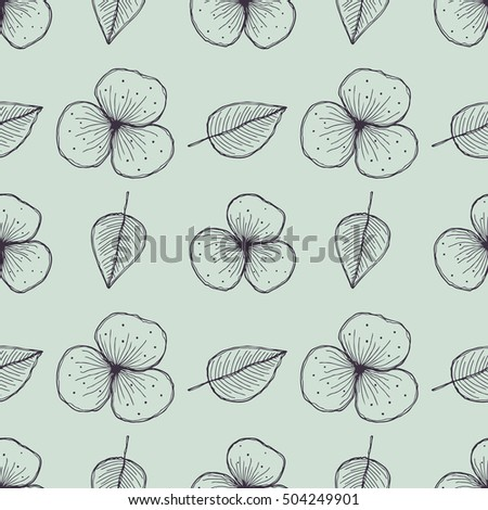 Raster floral seamless pattern. Blue background with flowers, leaves. Hand drawn contour lines and strokes. Graphic  illustration