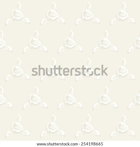 Raster floral seamless pattern with stylized white rose flowers, leafs and solid ivory background in sentimental wedding style, tender and delicate - stock photo