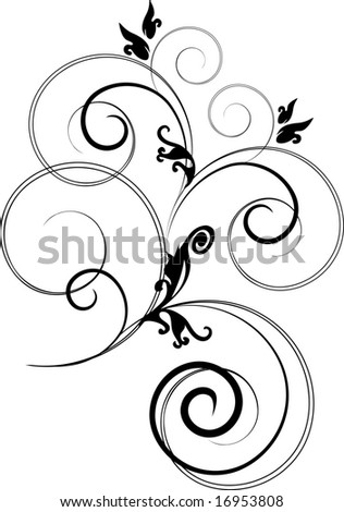 Raster Flower branch  Isolated (Vector version 17091982)