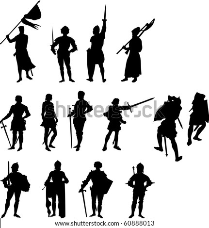 Raster Fourteen Knight and Medieval Figure Silhouettes -  Set Two