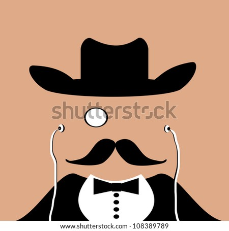 raster gentleman wearing monocle and cowboy hat - stock photo