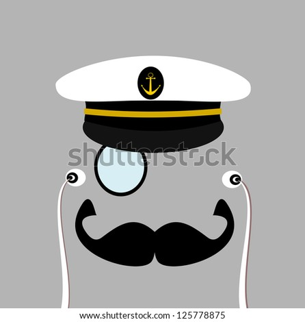 raster gentleman with sailor hat and monocle - stock photo