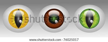 Raster Glossy animal eyeballs in three colors - stock photo