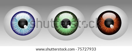 Raster Glossy human eyeballs in three colors - stock photo