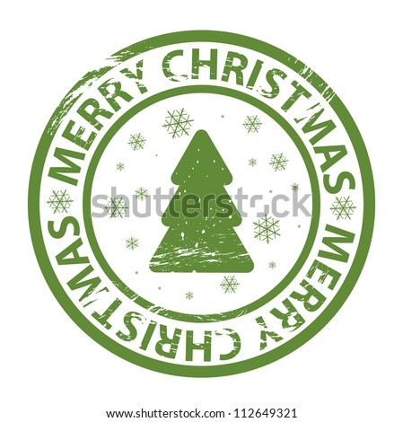 Raster grunge stamp with fir tree - stock photo