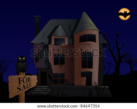 raster halloween themed illustration of old spooky house with owl and bat , vector version available - stock photo