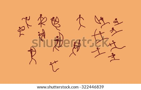 raster hand drawn cave drawing war between tribes. concept ancient sketch on a orange background - stock photo