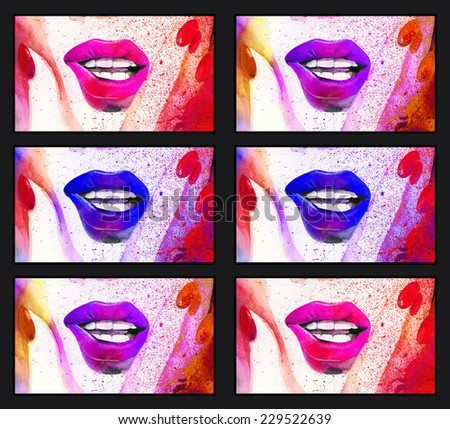 Raster hand drawn illustration with bright lips and nails in black frame. Hand drawn watercolour illustration - stock photo