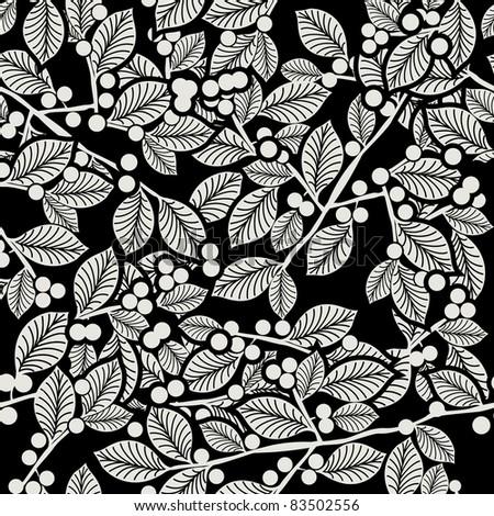 Raster. Hand drawn seamless floral wallpaper - stock photo