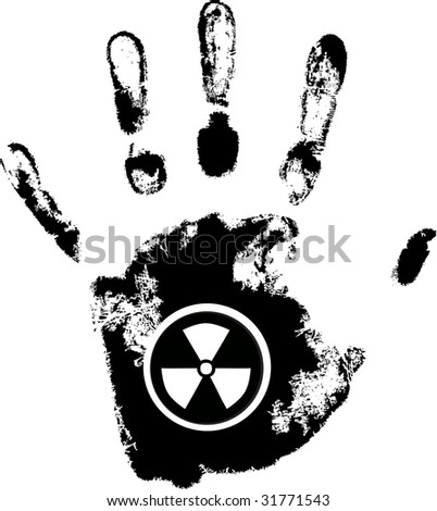 raster hand print with radiation danger symbol