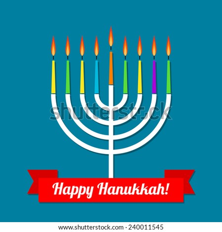 Raster happy hanukkah greeting card design stock illustration raster happy hanukkah greeting card design with candlestick m4hsunfo