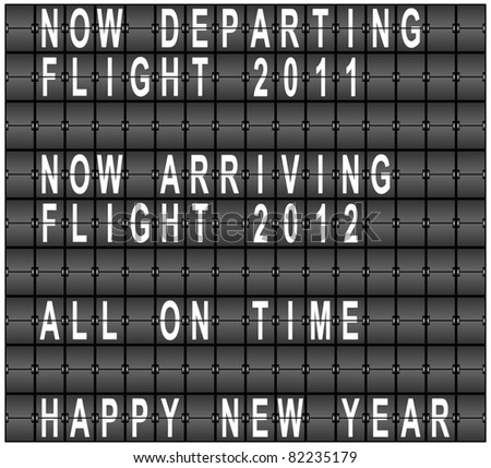 Raster Happy New Year Airport Terminal Background - stock photo