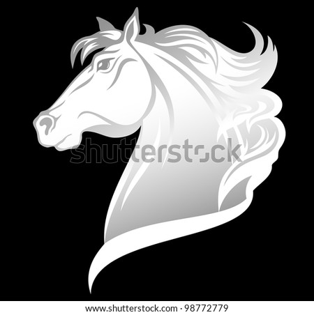 raster - head of beautiful white horse (vector version is available in my portfolio) - stock photo