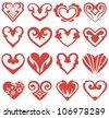 Raster hearts set - stock photo