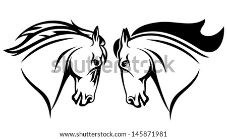 raster - horse head design - black and white outline (vector version is available in my portfolio)