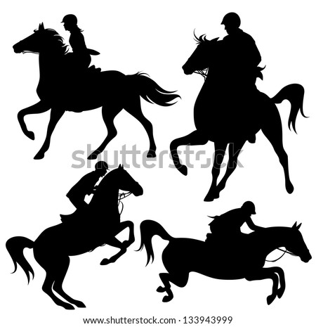 raster - horsemen fine silhouettes - horseback jockeys black detailed outlines over white (vector version is available in my portfolio) - stock photo