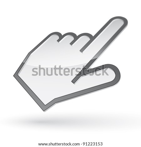 Raster icon of left-handed cursor with shadow on white background - stock photo