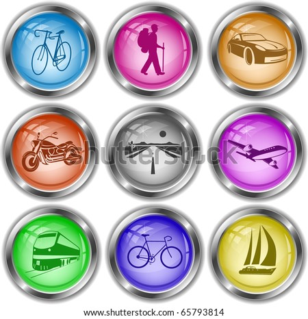 Raster icons of transport - stock photo