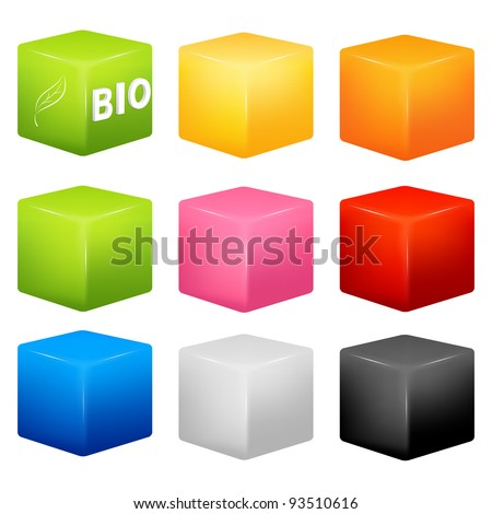 raster illustration - a collection of cubes of various colors with an example of possible usage as a background for icons or text - stock photo