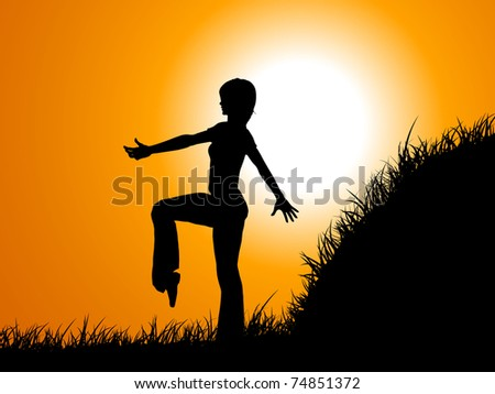 raster illustration acrobatic silhouette on field