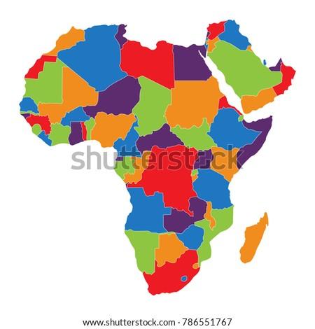Raster Illustration Africa Map Isolated On Stock Illustration