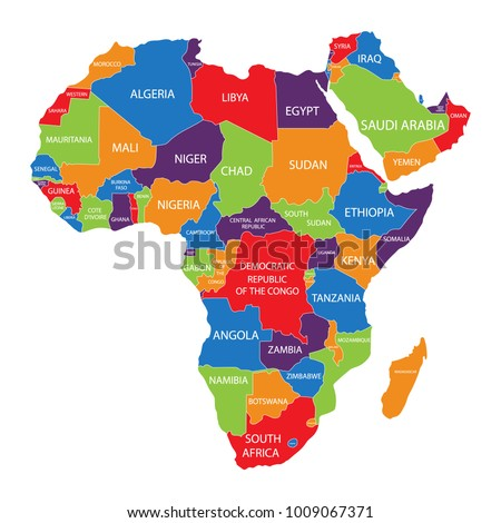Colorful Africa Map Countries Capital Cities Stock Illustration - Africa map with country names and capitals