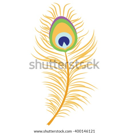 Raster illustration beautiful peacock feather. Decoration element. Peacock plume - stock photo