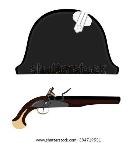 Raster illustration black Napoleon Bonaparte hat and flintlock musket gun. General bicorne hat - stock photo