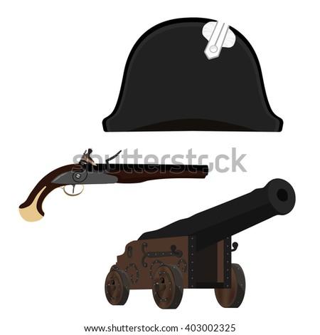 Raster illustration black Napoleon Bonaparte hat, old canon and flintlock musket gun. General bicorne hat - stock photo