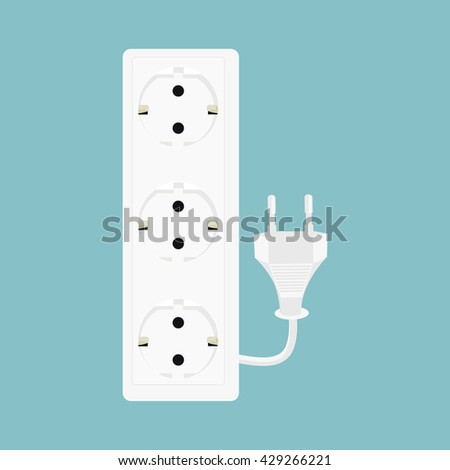 Raster illustration black power extension isolated on white background. Extension cord icon - stock photo