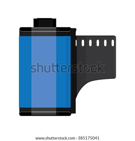 Raster illustration blue camera film roll. Photo film flat icon - stock photo