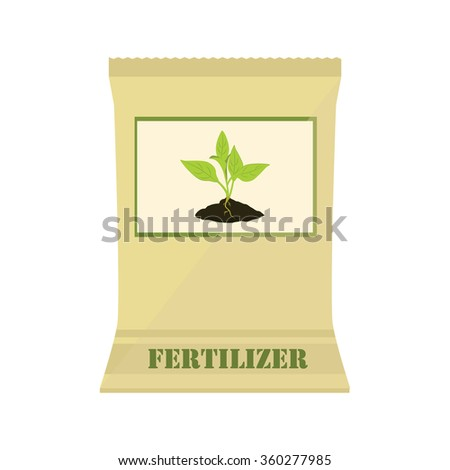 Raster illustration brown, paper bag with fertilizer. Plant growing in the ground. Little plant seedling. Seedling icon - stock photo