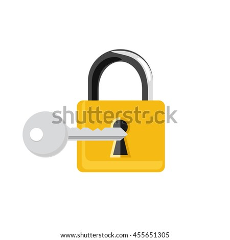 raster illustration closed golden lock and silver key isolated on white background. Lock, key icon set, collection. Padlock - stock photo