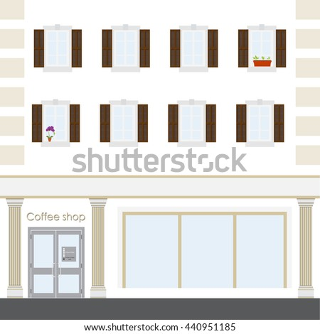Raster illustration coffee shop facade building. Facade of a coffee shop store or cafe. - stock photo