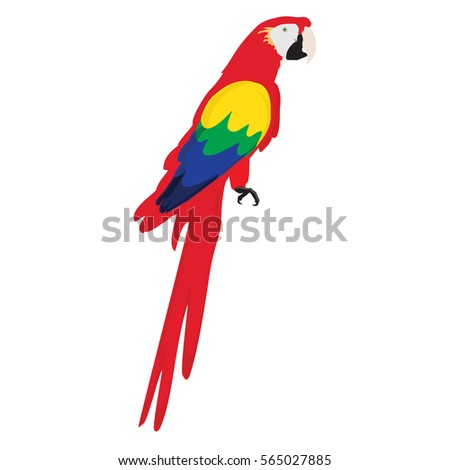 Raster illustration colorful macaw parrot. Beautiful macaw. Cartoon red parrot. Wild tropical bird