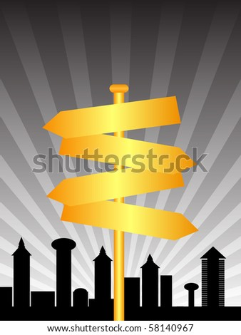 raster illustration direction sign city - stock photo