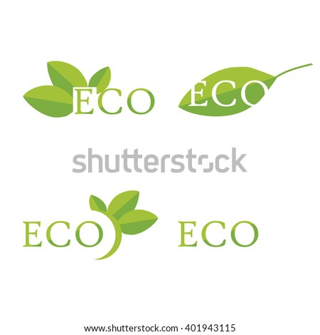 Raster illustration ecology icon set, collection. Eco symbols, labels. Set of eco friendly, natural and organic labels. - stock photo