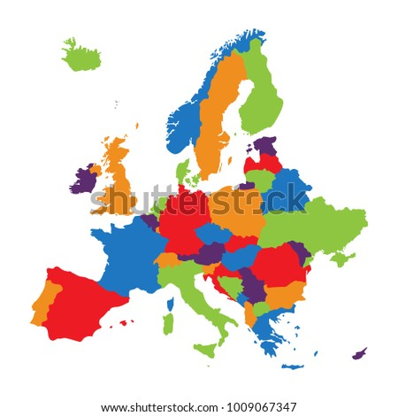 raster illustration europe map isolated on white background european continent map icon